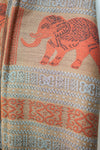 Decorish Women's Thai Elephants Pashmina Scarf -Earth Tone Beige & Orange 54 x 66 inch