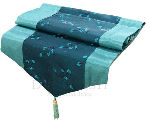 Silk Decorative Table Bed Runner - Asian Floral