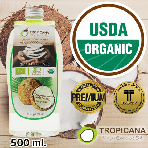 Tropicana Pure Virgin Thai Coconut Oil ORGANIC for Hair Skin Face Unrefined 500 ml.