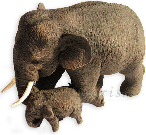 Hand Carved Teak wooden Thai Elephants Figure : Mom & Baby