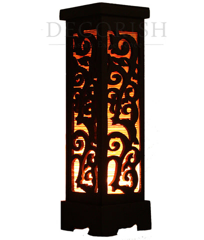 Oriental Bamboo Carved Wood Art Electric Lantern Lights Table Lamp