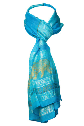 Decorish Women's Thai Elephants Silk Scarf Light Blue - New Vintage Collection
