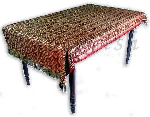 Silk Table Cover with Thai Elephants stripe