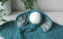 Load image into Gallery viewer, RTS Teal/Turquoise Bunny Bonnet