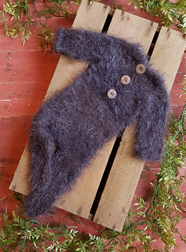 Grey Feather Long-sleeved, Footed Romper