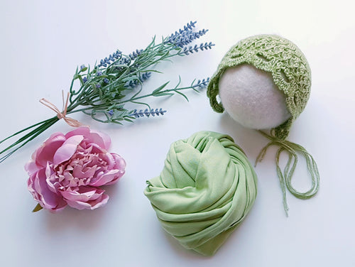 50% OFF - Apple Green Unique Wrap and Bonnet Set