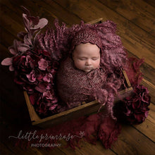 Load image into Gallery viewer, Newborn Cotton Bonnet, GIRL design