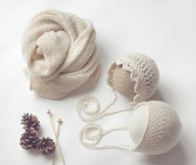 Load image into Gallery viewer, Ivory Cotton Wrap and Bonnet Set