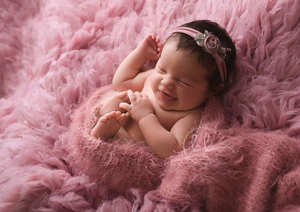RTS Dusky Pink Feather Wrap and Bonnet Set