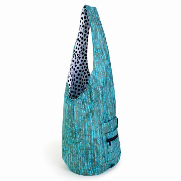 turquoise and Black yoga sling bag, yoga mat bag, sling bag