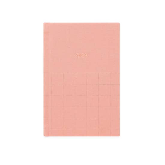 2020 Pink fabric pocket planner with white linen pages inside