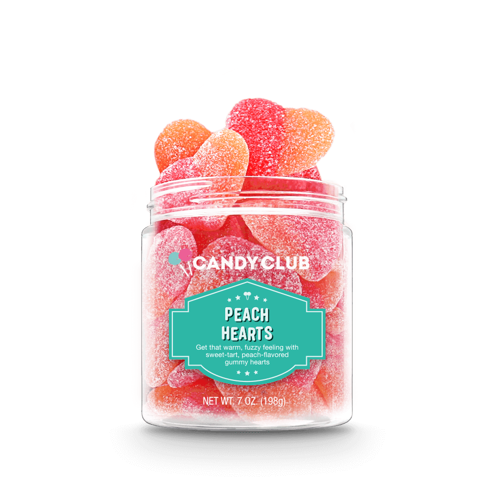 Peachy heart shaped gummies in a clear jar
