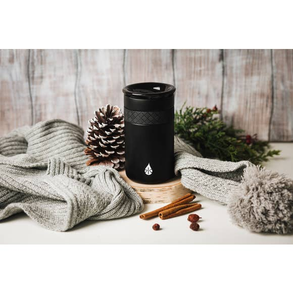 12 oz Matte black Tumbler with ceramic lid - TheArtsyBox