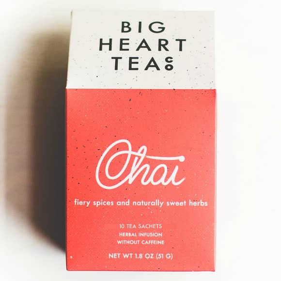 Caffeine free chai teta bags in red box by Big heart tea co.