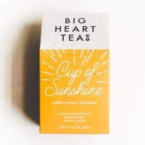 Loose leaf tea in Yellow box named cup of sunshine by Big heart tea co.