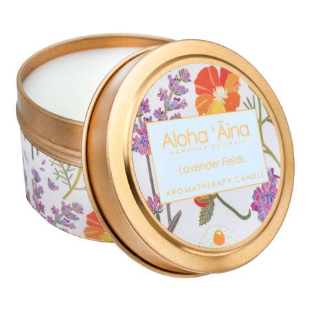 Lavender Fields - Hawaiian Aromatherapy Gold Tin Candle - TheArtsyBox