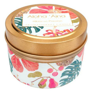 Hibiscus Passion - Hawaiian Aromatherapy Gold Tin Candle - TheArtsyBox