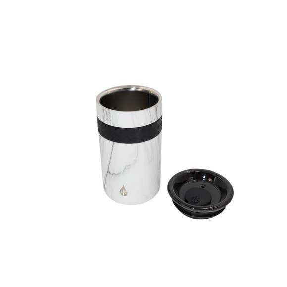12 oz White Marble Tumbler with ceramic lid