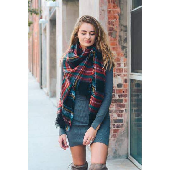 Classic Plaid Blanket Scarf - TheArtsyBox