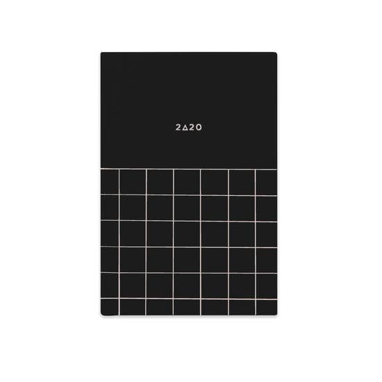 2020 Black fabric pocket planner with white linen pages inside.
