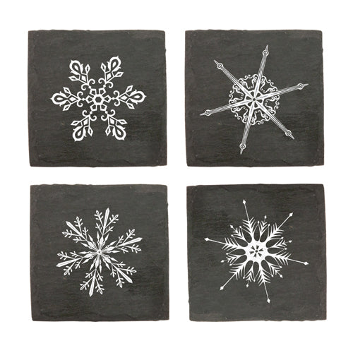 Rustic Holiday Snowflake Slate Coasters - TheArtsyBox