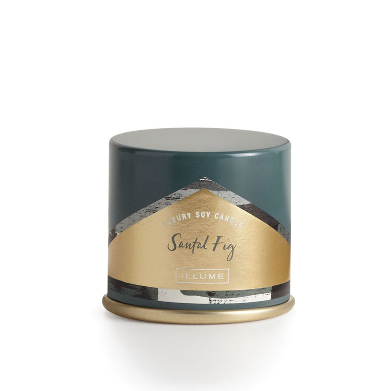 Santal fig luxury soy candle in Bluish grey tin, travel size.