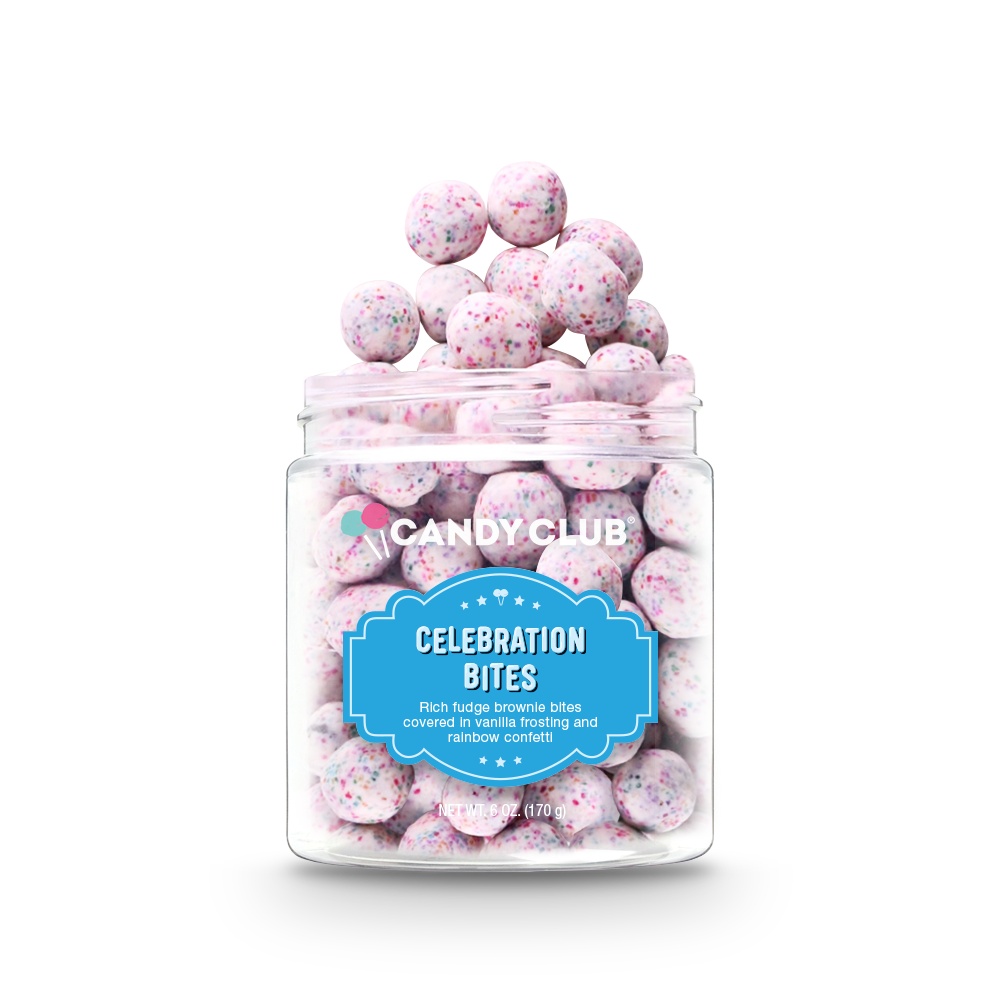 celebration candies in clear jar container