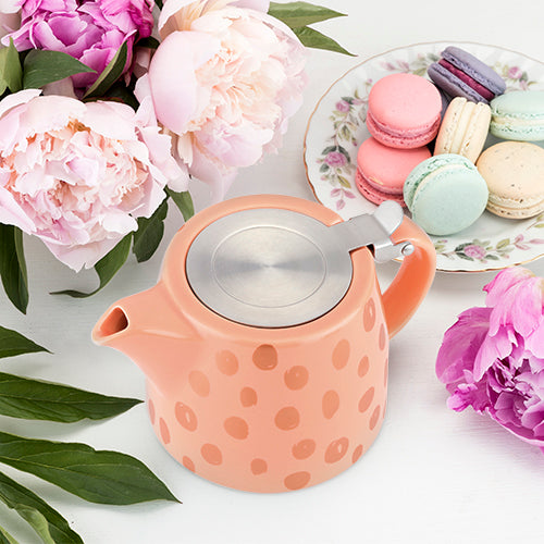 Harper Peach and Copper Ceramic Teapot & Infuser by Pinky Up