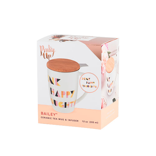 Baileyâ Drink Happy Ceramic Tea Mug & Infuser by Pinky Up - TheArtsyBox