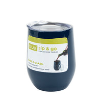 Sip & Go Stemless Wine Tumbler in Navy Blue by True - TheArtsyBox
