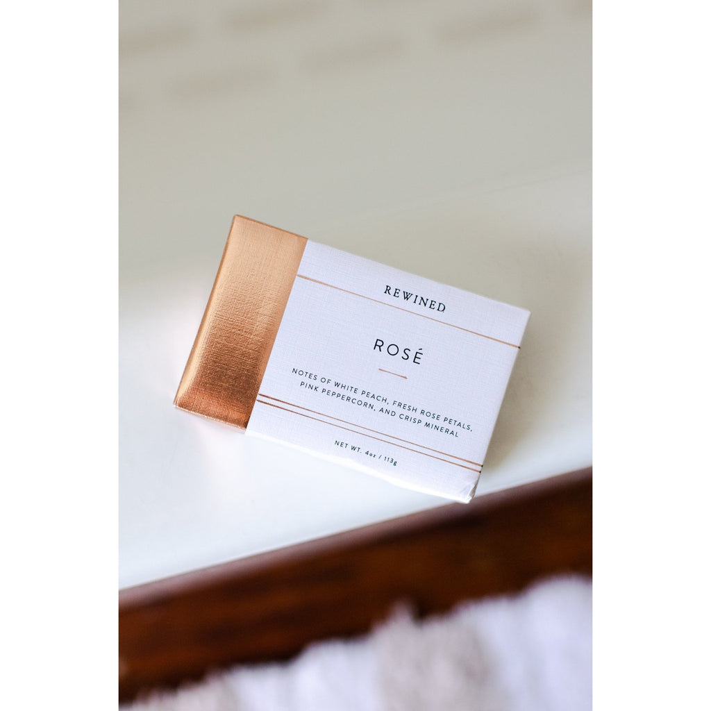 Rose bar soap in copper and white linen wrap
