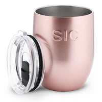 16 oz Stemless Rose Gold Glitter Stainless Steel Wine Cup - TheArtsyBox