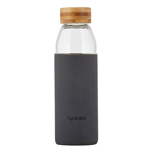 Glass water bottle w/bamboo lid - Hydrate - TheArtsyBox