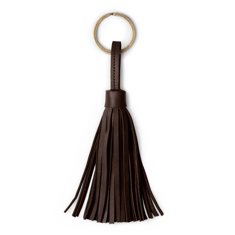 Dark Brown Dark Brown Leather Tassel Keychain
