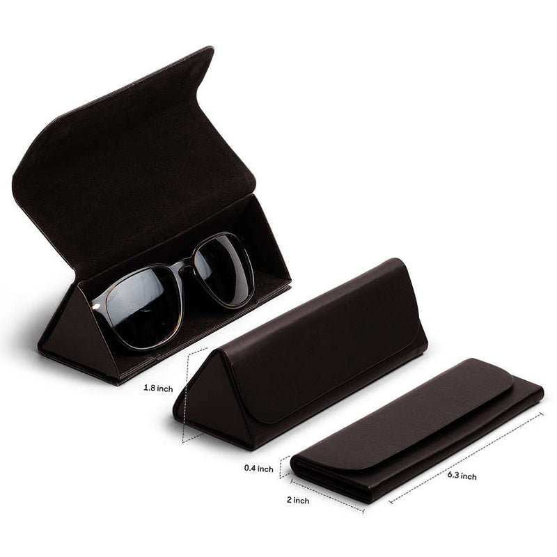 Dark Brown Faux Leather Foldaway Slim Eyewear/Sunglass Case - TheArtsyBox
