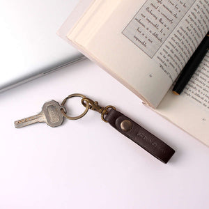 Dark Brown Real Leather Keychain - TheArtsyBox