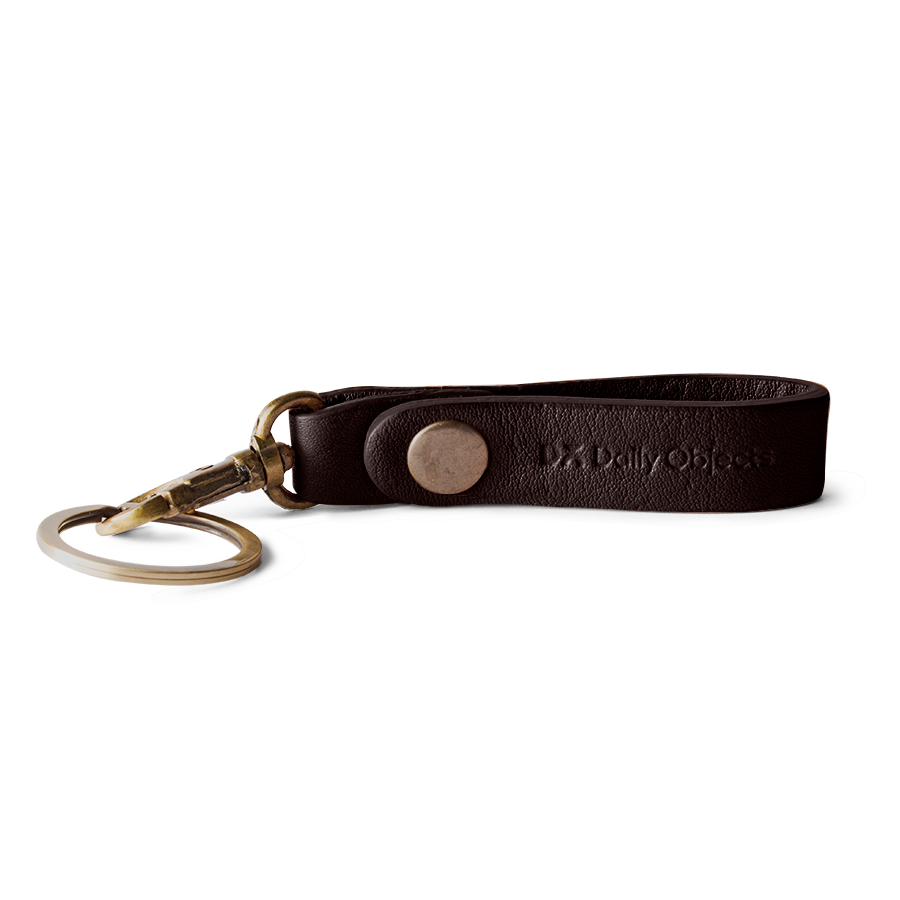 Dark Brown Real Leather Keychain