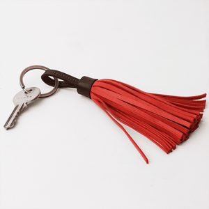 Dark Brown Red Leather Tassel Keychain - TheArtsyBox