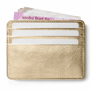 Gold Metallic Skinny Fit Card Wallet