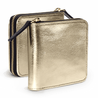 Gold Metallic Zip Wallet - TheArtsyBox