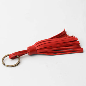 Red Red Leather Tassel Keychain - TheArtsyBox