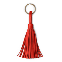 Red Red Leather Tassel Keychain