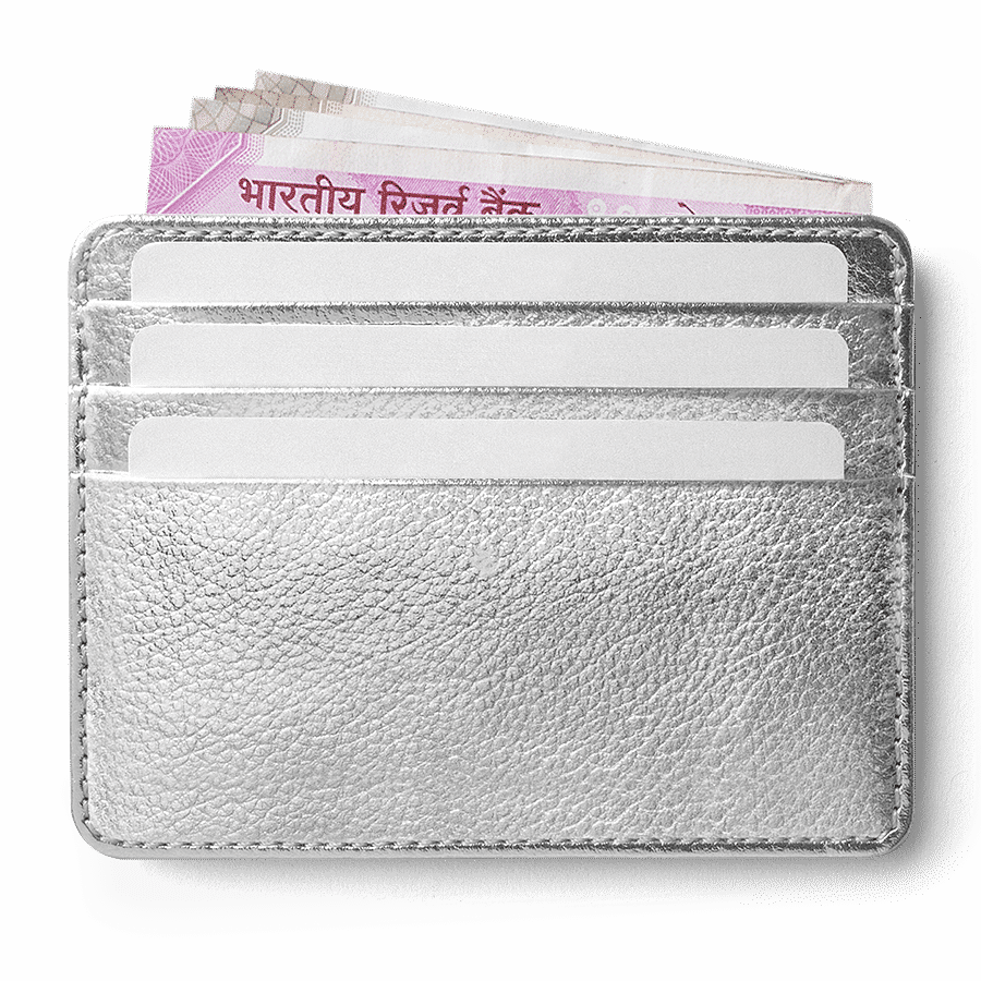 Silver Metallic Skinny Fit Card Wallet