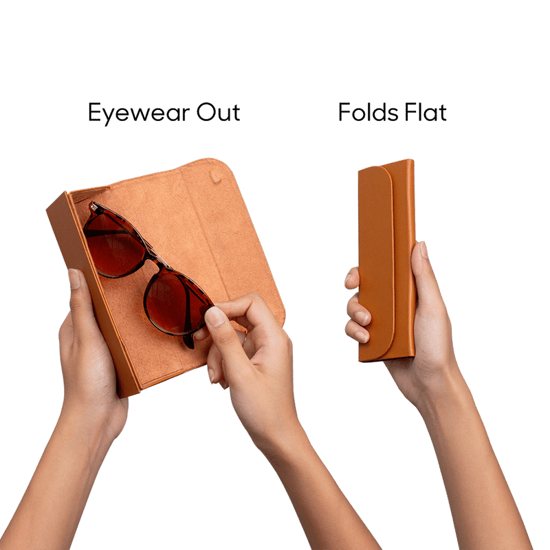 Tan Faux Leather Foldaway Slim Eyewear/Sunglass Case - TheArtsyBox