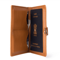 Tan Leather Compact Passport Wallet