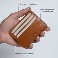 Tan Leather Skinny Fit Card Wallet - TheArtsyBox