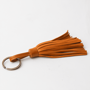 Tan Tan Leather Tassel Keychain - TheArtsyBox