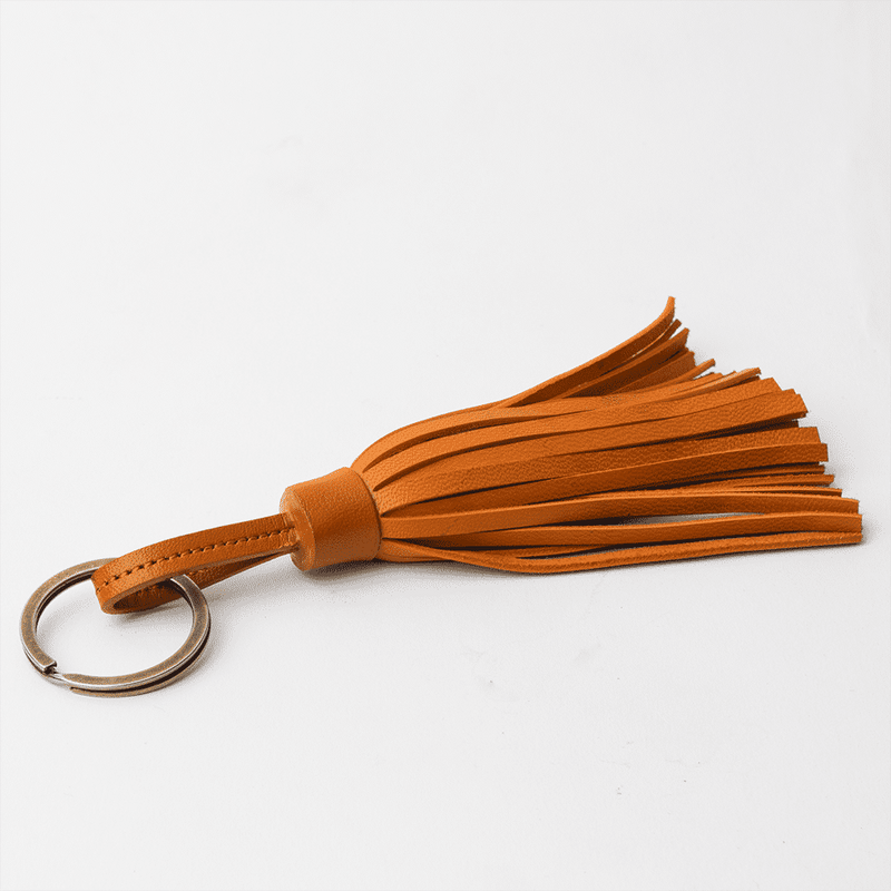 Tan Tan Leather Tassel Keychain