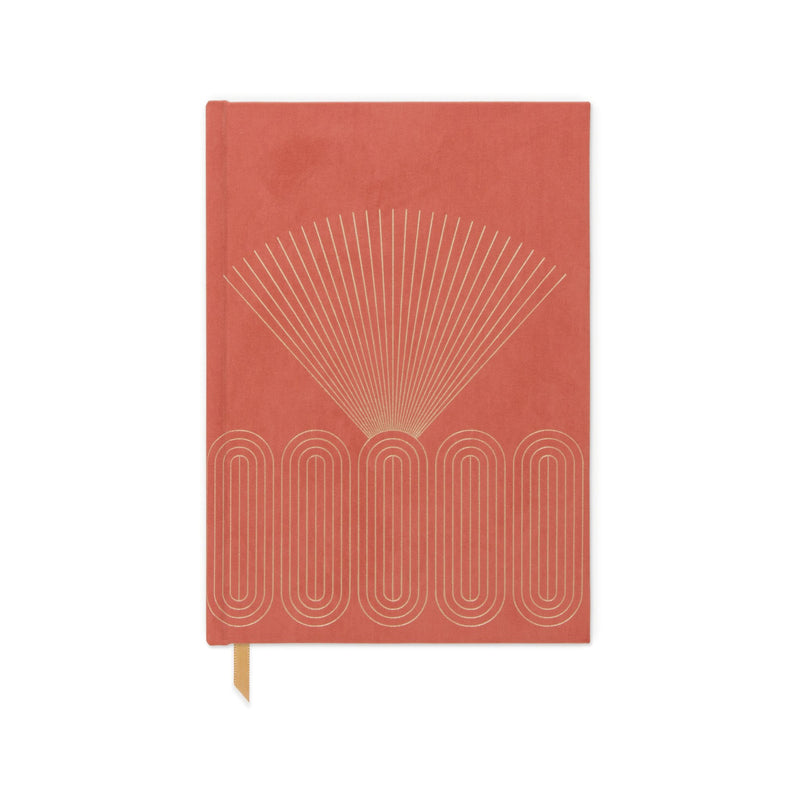 """RADIANT RAYS"" Hard cover suede cloth journal with pocket"