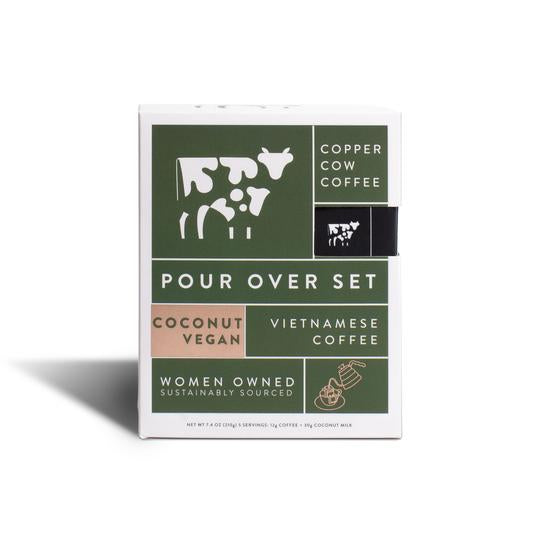 Pour over vietnamese coffee with Coconut vegan flavor in green box.